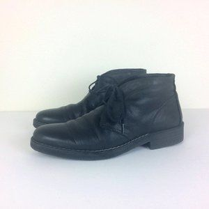 1901 Italy Black Leather Lace Up Chukka Ankle Boot